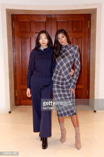 Models dressed by Anja Gockel during the Anja Gockel Fashion Brunch during the Fashion Week Berlin on September 9, 2021 in Berlin, Germany.