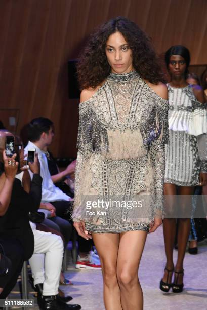 """Models dressed by Sublim Elle walks the runway during the """"Paris Appreciation Awards 2017"""" At The Eiffel Tower on July 8, 2017 in Paris, France."""