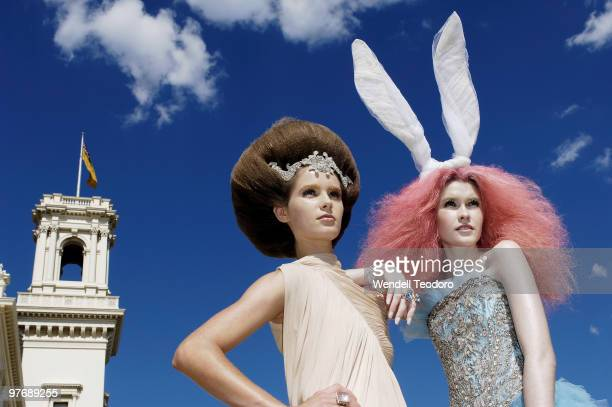 Models dressed in Akira and Collette Dinnigan attends the Opening Night Party for the 2010 L'Oreal Melbourne Fashion Festival at Government House on...