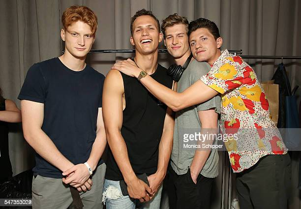 Models dressed in Todd Snyder pose for a photo backstage before the Todd Snyder fashion show during New York Fashion Week Men's S/S 2017 at Skylight...