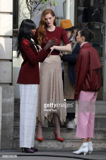 Models Duckie Thot Alexina Graham and Luma Grothe are seen on the set of new 'L'Oreal' shooting at 'Broken Arm Cafe' on March 26 2018 in Paris France