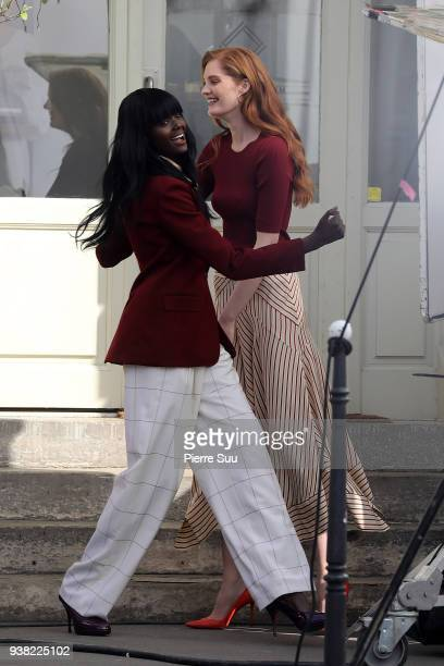 Models Duckie Thot Alexina Graham arrives on the set of new 'L'Oreal' shooting at 'Broken Arm Cafe' on March 26 2018 in Paris France