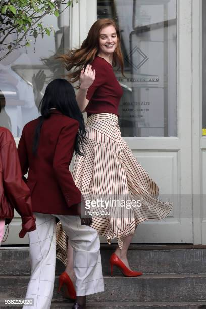 Models Duckie Thot and Alexina Graham are seen on the set of new 'L'Oreal' shooting at 'Broken Arm Cafe' on March 26 2018 in Paris France