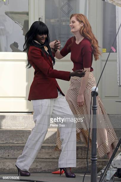 Models Duckie Thot and Alexina Graham arrives on the set of new 'L'Oreal' shooting at 'Broken Arm Cafe' on March 26 2018 in Paris France