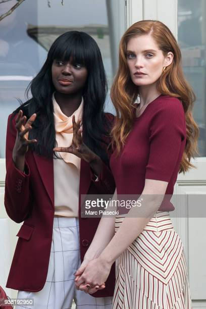 Models Duckie Thot and Alexina Graham is seen on the set of new 'L'Oreal' shooting at 'Broken Arm Cafe' on March 26 2018 in Paris France