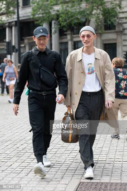 Models during London Fashion Week Men's on June 10 2018 in London England