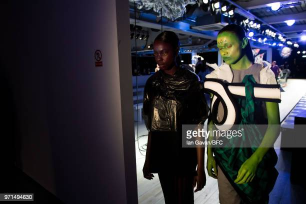 Models during rehearsal ahead of the Charles Jeffrey Loverboy show at London Fashion Week Men's June 2018 at the BFC Show Space on June 11 2018 in...