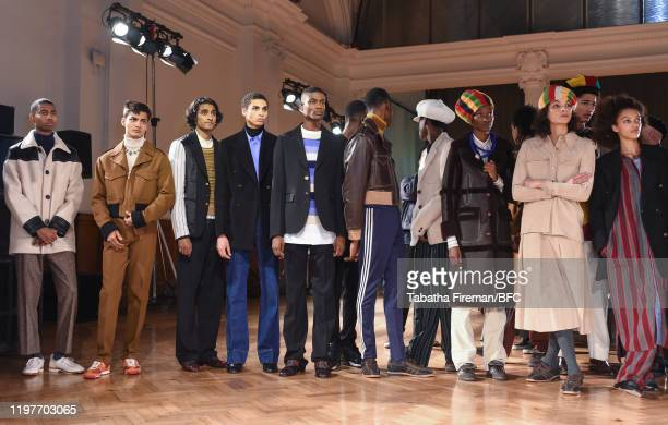 Models during rehearsals ahead of the Wales Bonner show during London Fashion Week Men's January 2020 at the The Lindley Hall on January 05 2020 in...