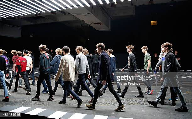 Models during rehearsals for the Xander Zhou show at the London Collections Men AW15 at The Old Sorting Office on January 12 2015 in London England