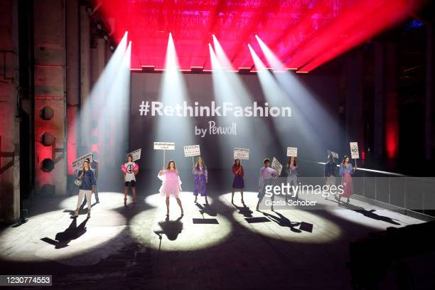 Models during the ABOUT YOU Fashion Week, AYFW, Perwoll show production at Kraftwerk on January 23, 2021 in Berlin, Germany.