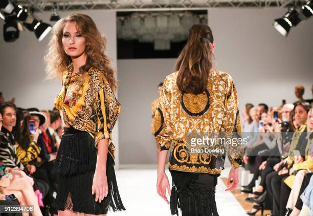Models during the Gianni Versace Retrospective runway show opening event at Kronprinzenpalais on January 30 2018 in Berlin Germany The exhibition on...