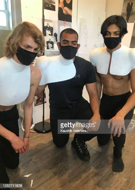 Models during the Kaushik Velendra #LFWRest presentation during London Fashion Week on June 10 2020 in London England [Photo by Alexander Denning...