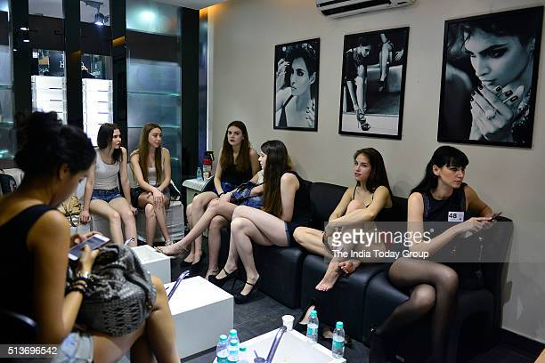 Models during the Lakme Fashion Week auditions in New Delhi
