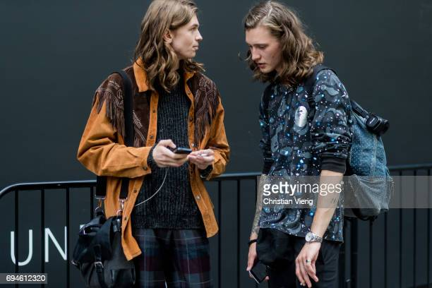 Models during the London Fashion Week Men's June 2017 collections on June 10 2017 in London England
