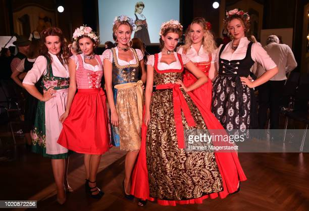 Models during the 'POMPOEOES By Angermaier Collection Presentation' at Deutsches Theatre on August 21 2018 in Munich Germany