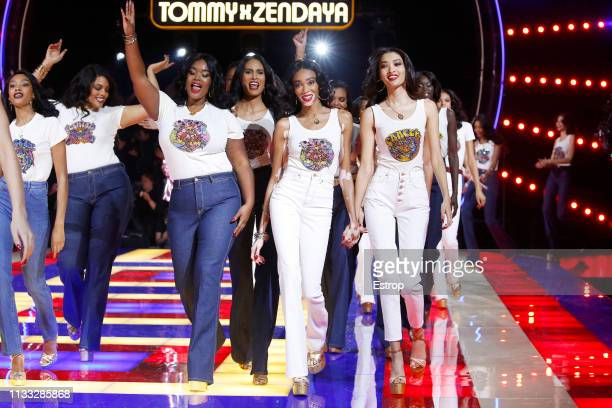 Models during the Tommy Hilfiger TOMMYNOW Spring 2019 TommyXZendaya Premieres at Theatre des ChampsElysees on March 2 2019 in Paris France