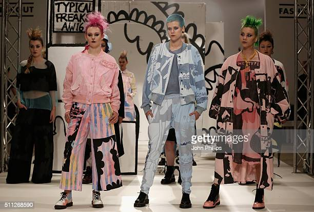 Models during the Typical Freaks presentation at Fashion Scout during London Fashion Week Autumn/Winter 2016/17 at Freemasons' Hall on February 19...