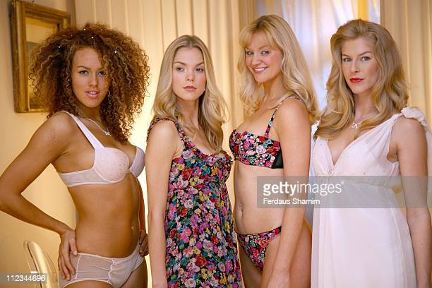 Models during 'Wonderstar' Wonderbra's Designer Collection by Jenny Packham Photocall in London Great Britain
