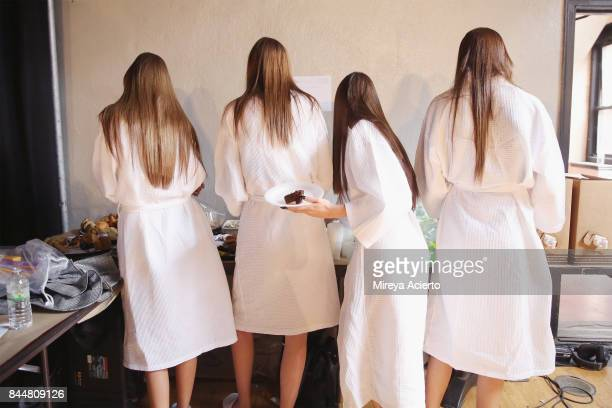 Models eating backstage at the Linder fashion show during New York Fashion Week on September 8 2017 in New York City