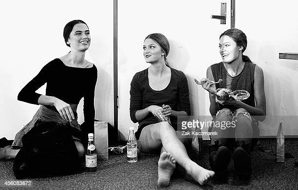 Models eating backstage before the MercedesBenz Presents Australian Style Show at MercedesBenz Fashion Festival Sydney at Sydney Town Hall on...