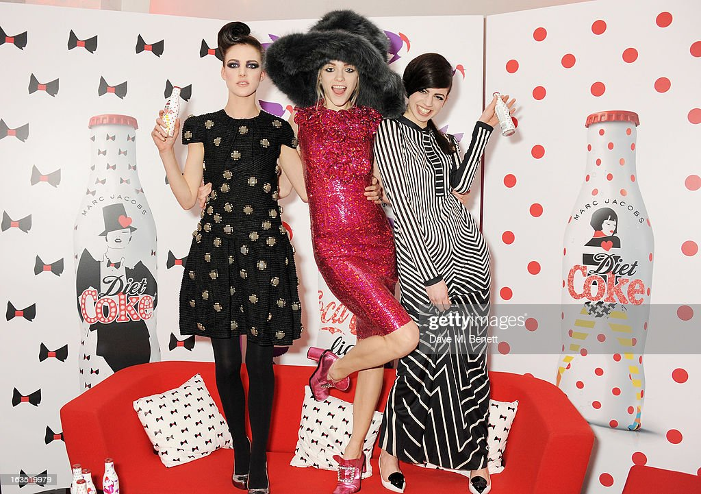 Models Eliza Cummings, Lily McMenamy and Ginta Lapina attend a party celebrating 30 years of Diet Coke and announcing designer Marc Jacobs as Creative Director for Diet Coke in 2013 at the German Gymnasium Kings Cross on March 11, 2013 in London, England.