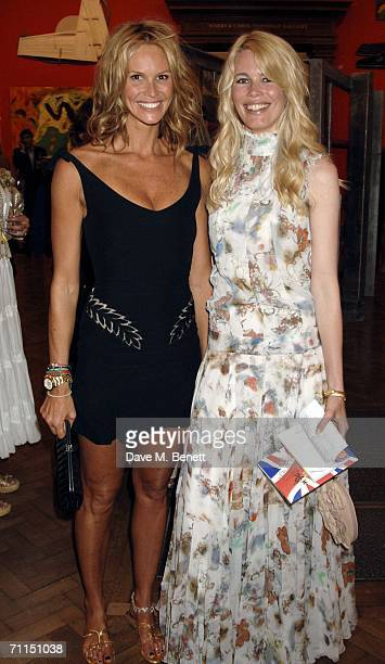 Models Elle Macpherson and Claudia Schiffer attend the champagne reception launching the world's oldest and largest open art competition and...
