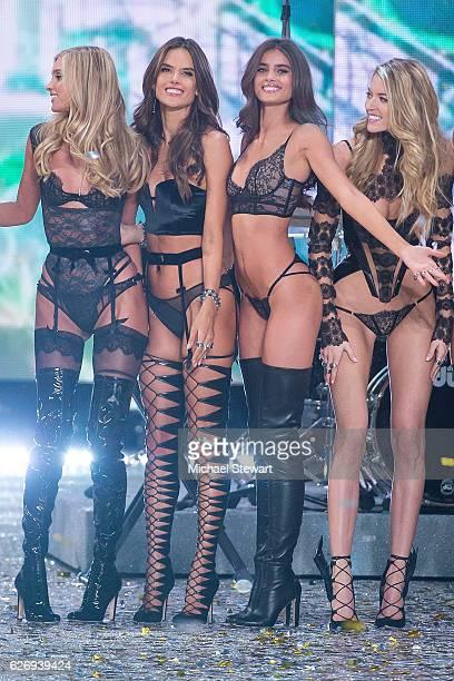 LR0 Models Elsa Hosk Alessandra Ambrosio Taylor Hill and Martha Hunt walk the runway during the 2016 Victoria's Secret Fashion Show at Le Grand...