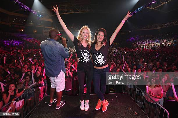 Models Elsa Hosk and Sara Sampaio along with DJ Irie attend the Victoria's Secret PINK Nation Campus Party at University of Central Florida on...