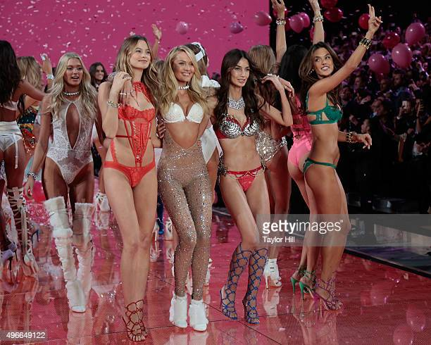 Models Elsa Hosk Behati Prinsloo Candice Swanepoel Lily Aldridge and Alessandra Ambrosio dance in the finale at the 2015 Victoria's Secret Fashion...