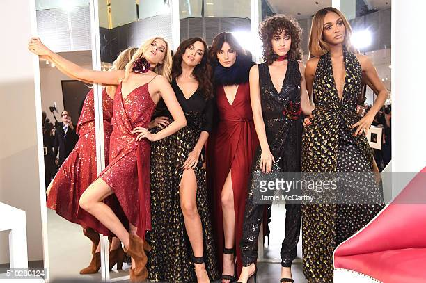 Models Elsa Hosk Irina Shayk Lily Aldridge Alanna Arrington and Jourdan Dunn pose wearing Diane Von Furstenberg Fall 2016 show during New York...