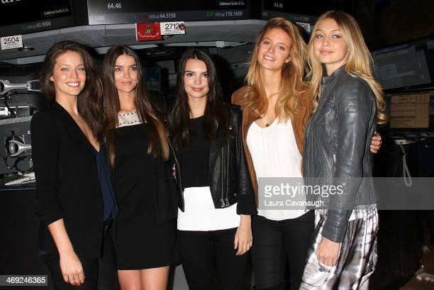 Models Emily DiDionato Natasha Barnard Emily Ratajkowki Gigi Hadid and Kate Bock Ring the NYSE Closing Bell In Celebration Of The 50th Anniversary Of...