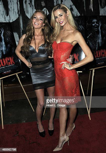 Models Emily Victoria and Brittany Mason at the Muck After Party held at Smithhouse Tap Grill on February 26 2015 in Los Angeles California