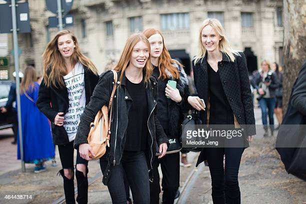 Models Emmy Rappe Julia Hafstrom Madison Stubbington and Harleth Kuusik exit the Gucci show at Piazza Oberdan on February 25 2015 in Milan Italy