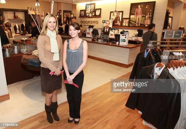 Models Erin Steele and Alisha Harrell pose at the Dockers GQ Celebration of Dockers Store Opening on November 15 2007 in San Francisco California