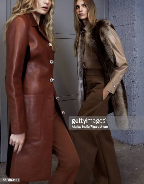 Models Estee Rammant and Nathalia O pose at a fashion shoot for Madame Figaro on September 19 2017 in Paris France Left Coat and pants Right Vest...