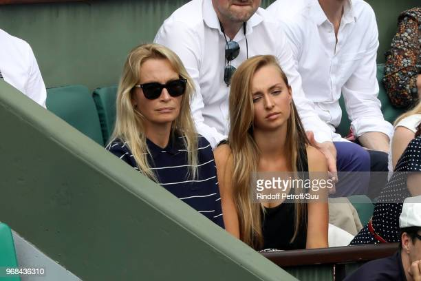 Models Estelle Lefebure and her daughter Emma Smet attend the 2018 French Open Day Eleven at Roland Garros on June 6 2018 in Paris France