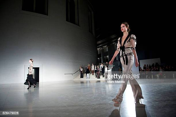 Models exhibit the Temperley autumn 2011 collection at The British Museum in London on 20 February 2011. This runway show marked the designer's 10...