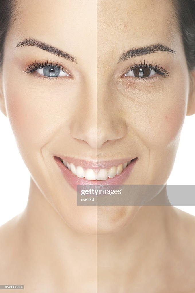 Models Face Showing Different Makeup Looks Stock Photo