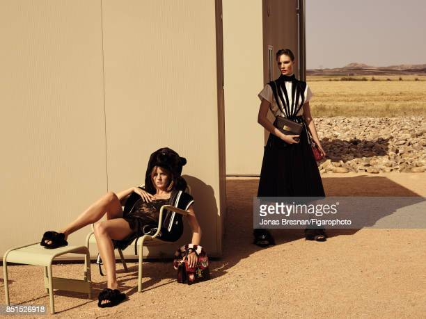 Models Fanny Francois and Alexandra Martynova pose at a fashion shoot for Madame Figaro on June 14 2017 in Spain Left All Right Dress and shirt RL...