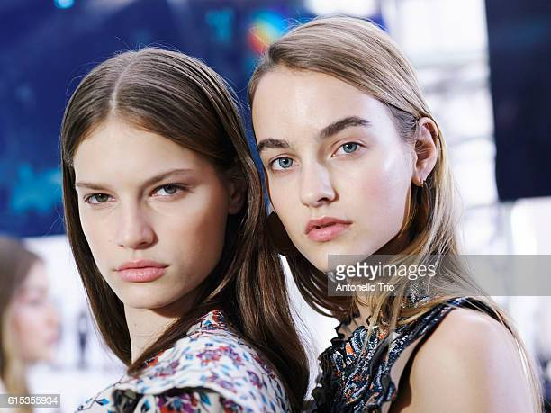 Models Faretta and Maartje Verhoef poses prior the Isabel Marant show as part of the Paris Fashion Week Womenswear Spring/Summer 2017 on September 29...