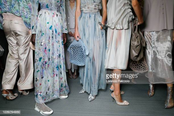 Models fashion detail are seen backstage ahead of the Giorgio Armani show during Milan Fashion Week Spring/Summer 2019 on September 23 2018 in Milan...