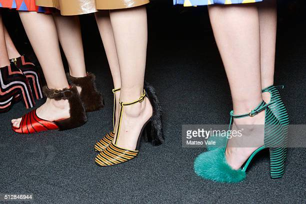 Models fashion detail are seen backstage ahead of the Salvatore Ferragamo show during Milan Fashion Week Fall/Winter 2016/17 on February 28 2016 in...