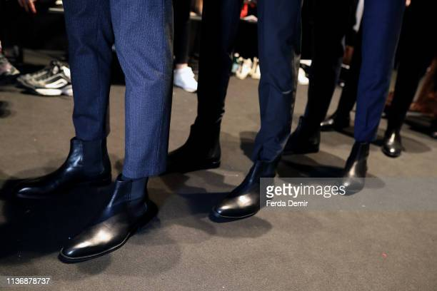 Models fashion detail are seen backstage ahead the Damat show during MercedesBenz Istanbul Fashion Week at the Zorlu Performance Hall on March 19...