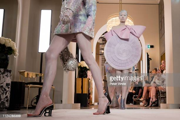 Models fashion detail walk the runway during the Balmain Paris Spring Summer 2019 show as part of Paris Fashion Week on January 23 2019 in Paris...