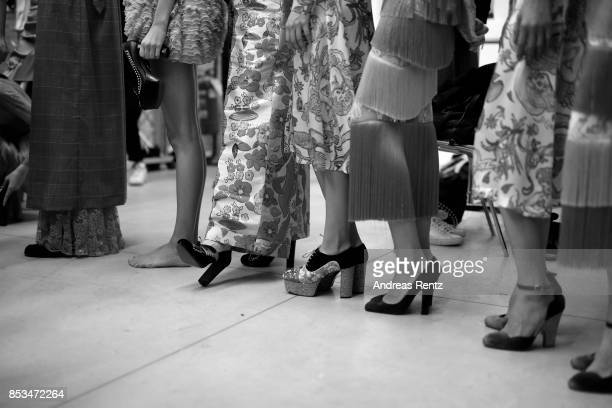 Models fashion details are seen backstage ahead of the Daizy Shely show during Milan Fashion Week Spring/Summer 2018on September 25 2017 in Milan...