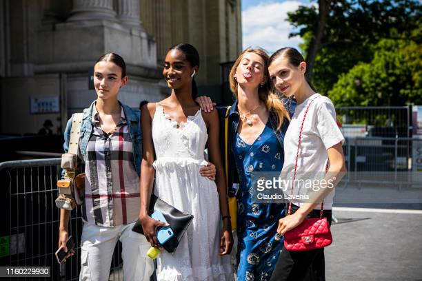 Models fashion details are seen outside Chanel show during Paris Fashion Week Haute Couture Fall/Winter 2019/2020 on July 02 2019 in Paris France