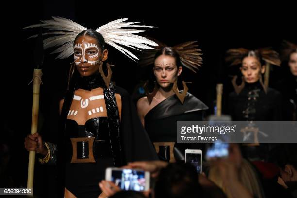 Models fashion details walk the runway at the Ceren Ocak show during MercedesBenz Istanbul Fashion Week March 2017 at Grand Pera on March 22 2017 in...