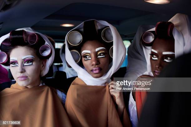 Models for the designer label David Tlale during a fashion show at the colored community in BoKaap at the Mercedes Benz Cape Town Fashion Week on...