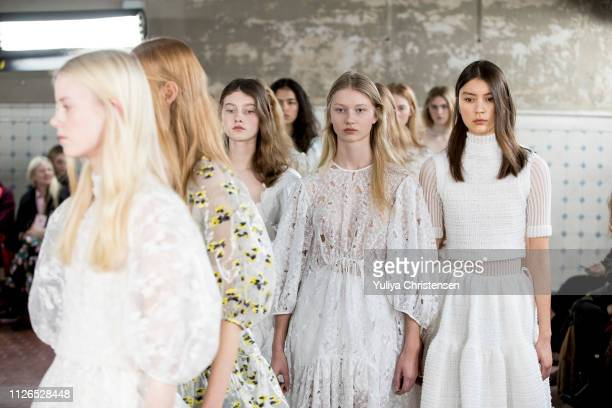Models for the final walk on the runway at the Cecilie Bahnsen show during the Copenhagen Fashion Week Autumn/Winter 2019 on January 31 2019 in...
