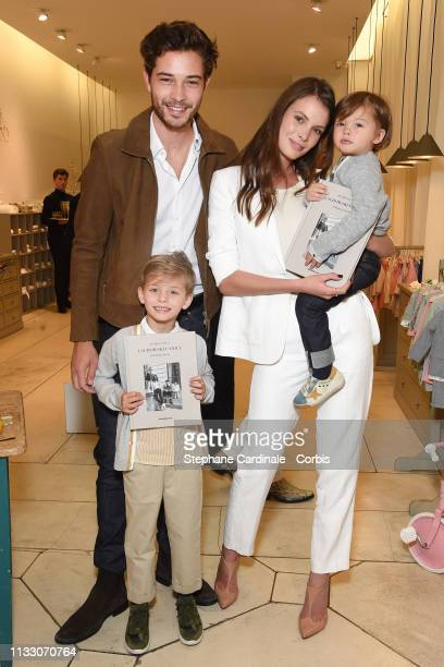 Models Francisco Lachowski with wife Jess Lachowski and their kids Milo Lachowski and Laslo Lachowski attend the Bonpoint Cocktail for the book...